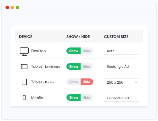 Responsive Google AdSense Support Via our Custom Admin Panel