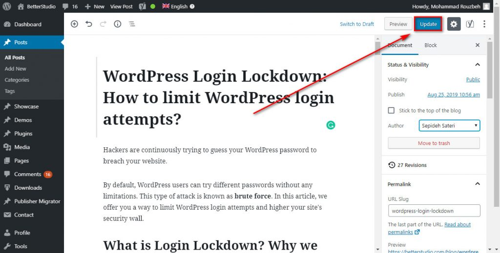 change author in wordpress