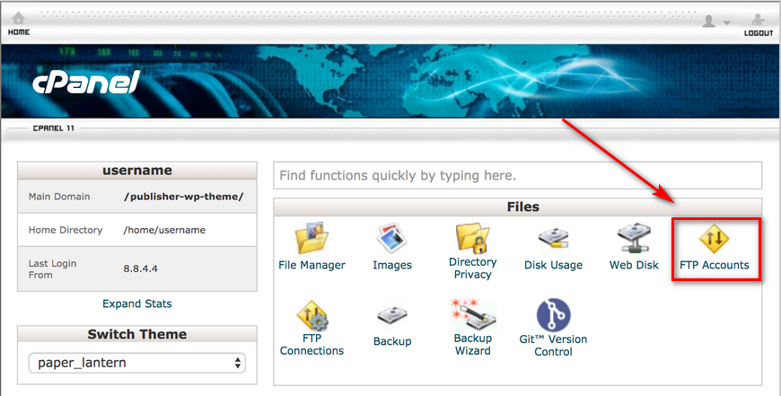 upload files with ftp