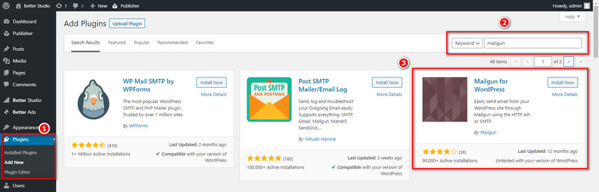 install mailgun wordpress plugin