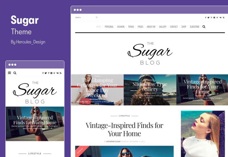 Sugar Theme - Clean & Personal WordPress Blog Theme