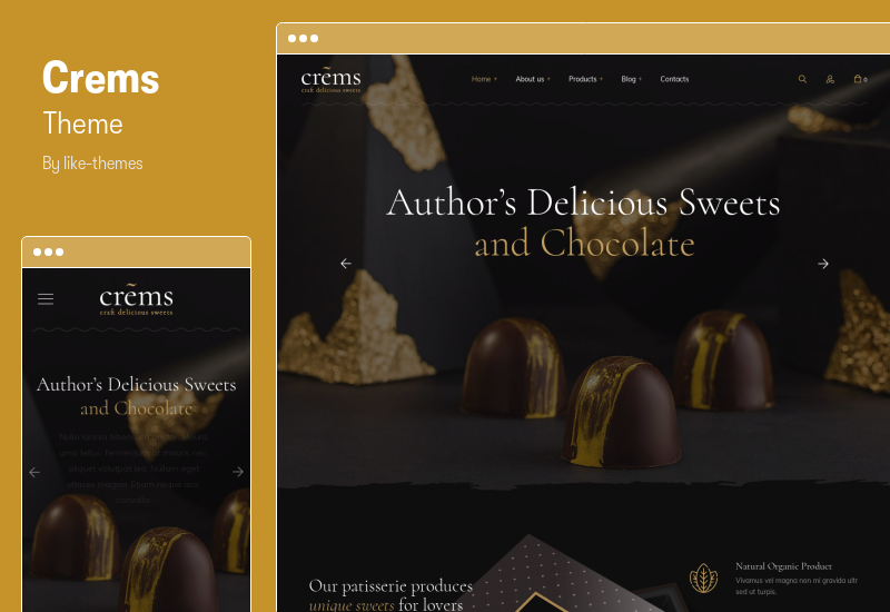 Crems Theme - Bakery, Chocolate Sweets & Pastry WordPress Theme