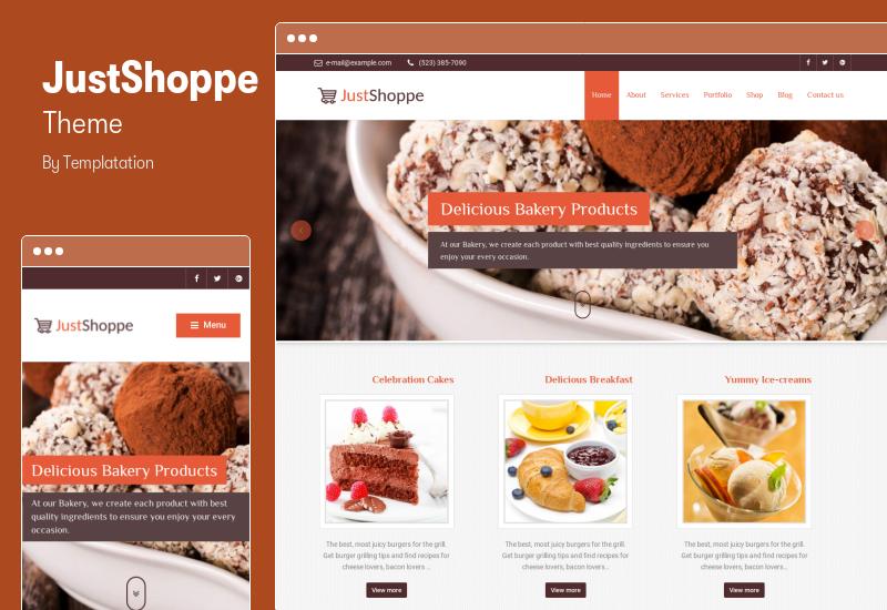 JustShoppe Theme - Elementor Cake Bakery & Food WordPress